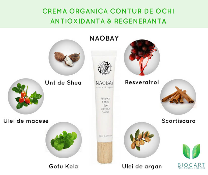 Crema organica contur de ochi antioxidanta si regeneranta Naobay – aliatul tenului matur