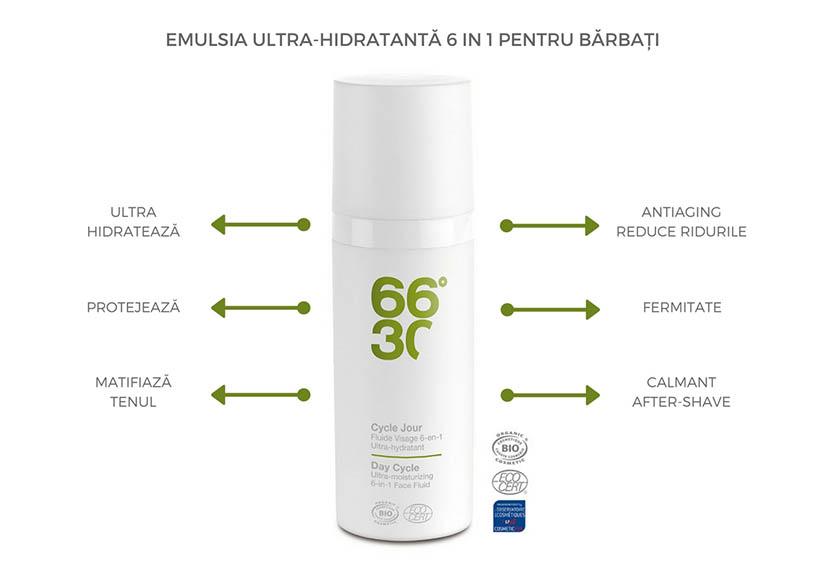 Excelenta in ingrijirea cosmetica pentru barbati – emulsia ultra-hidratanta 6-in-1 BIO pentru fata 66°30