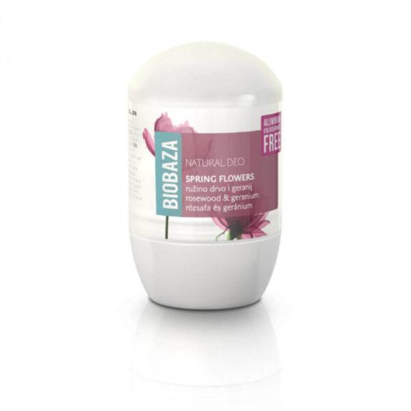Deodorant natural pentru femei SPRING FLOWERS (trandafiri si geranium), Biobaza, 50 ml