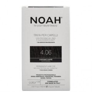 Vopsea de par naturala fara amoniac,Saten cafeniu,4.06, Noah, 140 ml