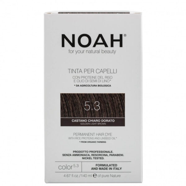 Vopsea de par naturala,Saten auriu deschis, 5.3, Noah, 140 ml