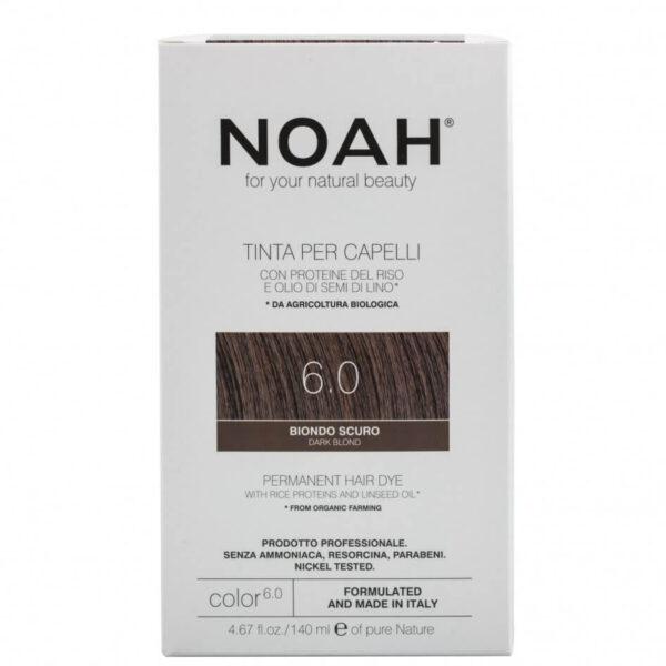 Vopsea de par naturala, 6.0,Blond inchis, Noah, 140 ml