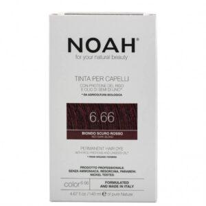 Vopsea de par naturala,Blond roscat inchis, 6.66, Noah, 140 ml