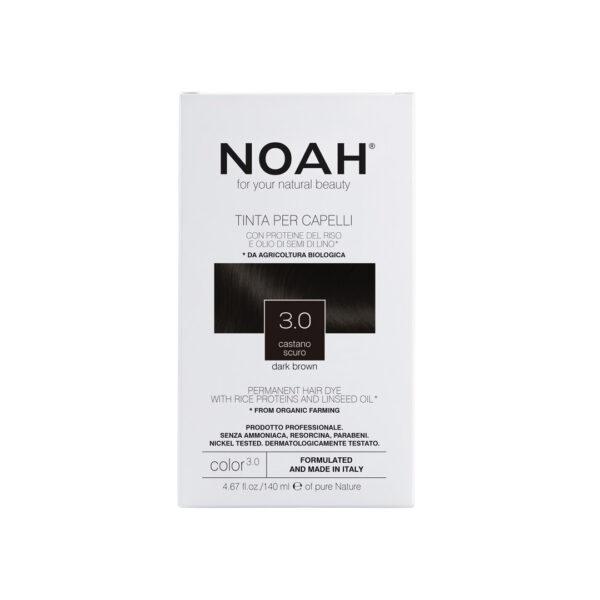 Vopsea de par naturala fara amoniac,Saten inchis, 3.0, Noah, 140 ml