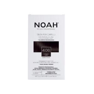 Vopsea de par naturala fara amoniac,Saten cafeniu, 4.06, Noah, 140 ml...
