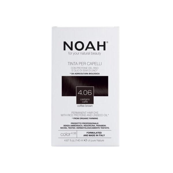 Vopsea de par naturala fara amoniac,Saten cafeniu, 4.06, Noah, 140 ml