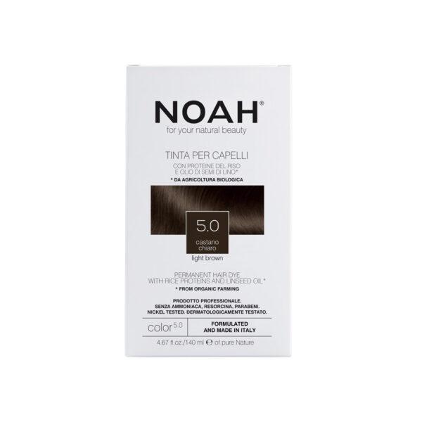 Vopsea de par naturala fara amoniac, Saten deschis 5.0, Noah, 140 ml