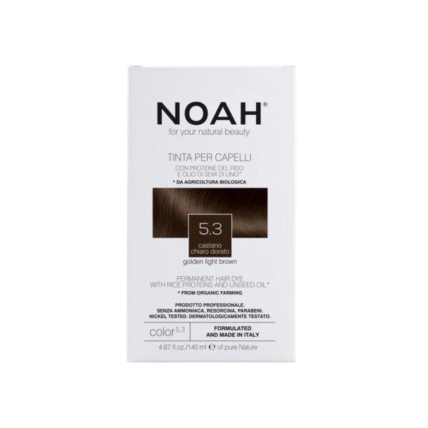 Vopsea de par naturala fara amoniac,Saten auriu deschis, 5.3, Noah, 140 ml