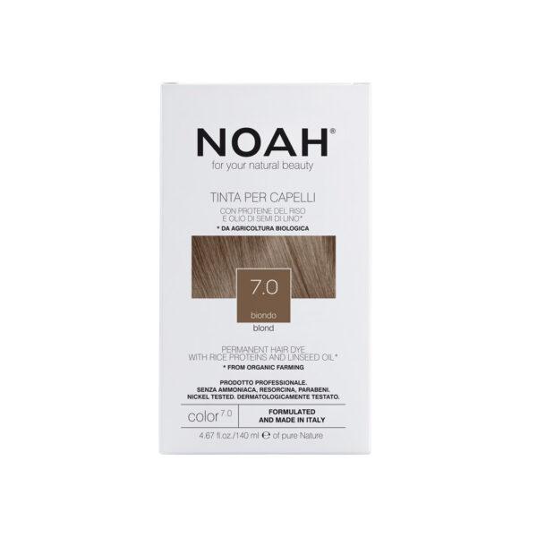 Vopsea de par naturala fara amoniac, Blond, 7.0, Noah, 140 ml