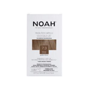 Vopsea de par naturala fara amoniac, Blond auriu, 7.3,Noah, 140 ml