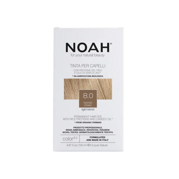Vopsea de par naturala fara amoniac, Blond deschis,8.0, Noah, 140 ml