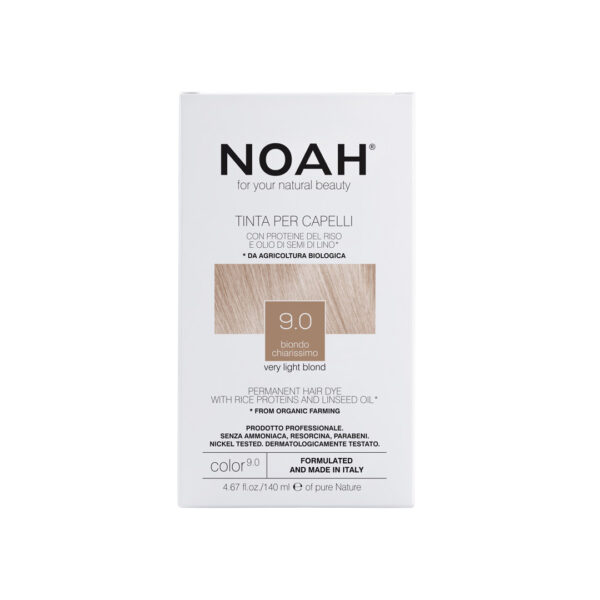Vopsea de par naturala fara amoniac, Blond foarte deschis, 9.0, Noah, 140 ml