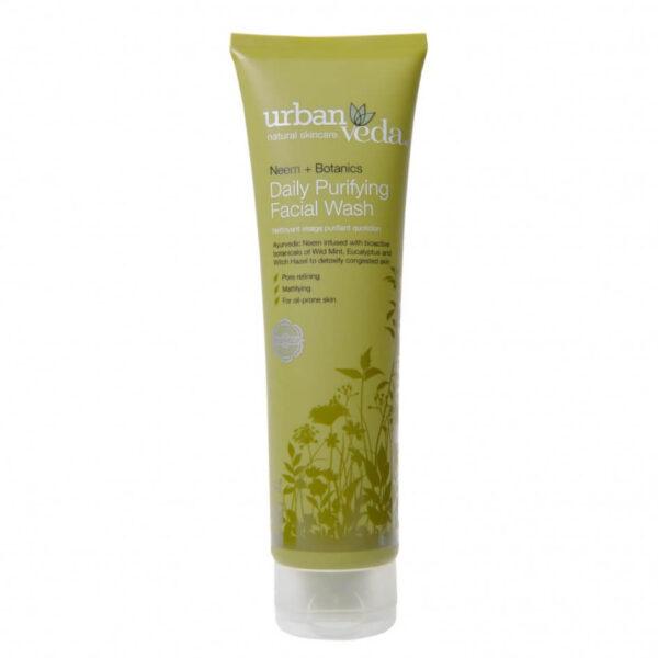 Gel de curatare facial cu ulei de neem pentru ten gras, Purifying - Urban Veda, 150 ml