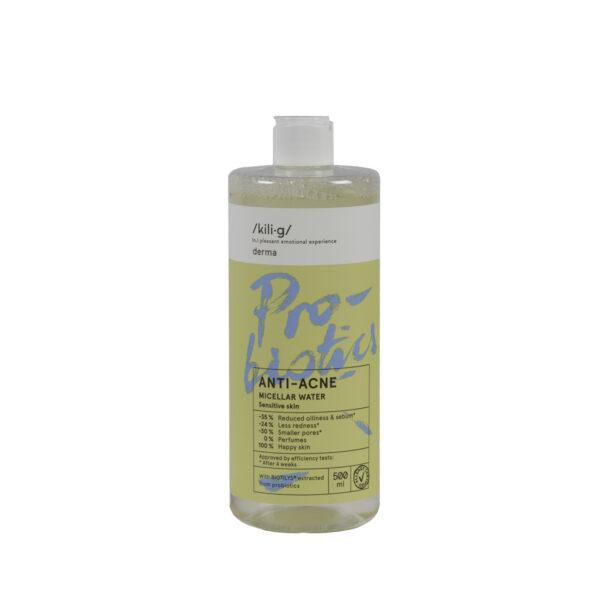 Apa micelara cu probiotice pentru ten sensibil si acneic, KILIG DERMA, 500 ml