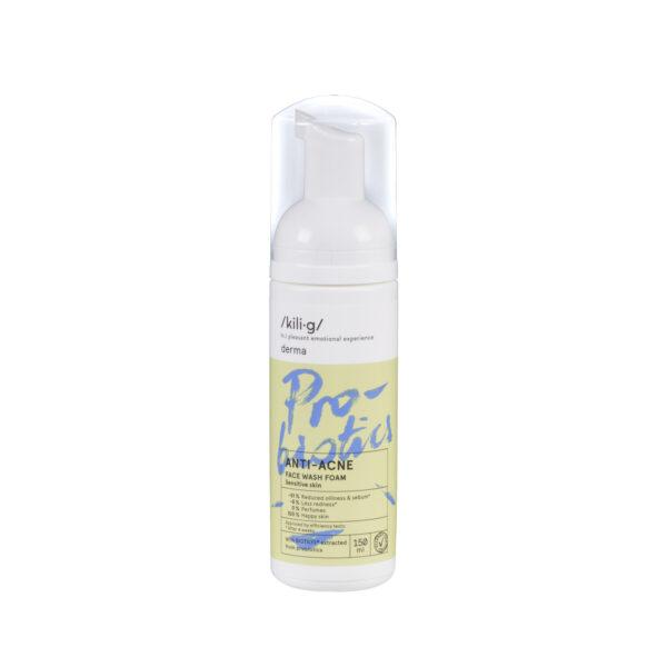 Spuma de curatare faciala cu probiotice pentru ten sensibil si acneic, KILIG DERMA, 150 ml