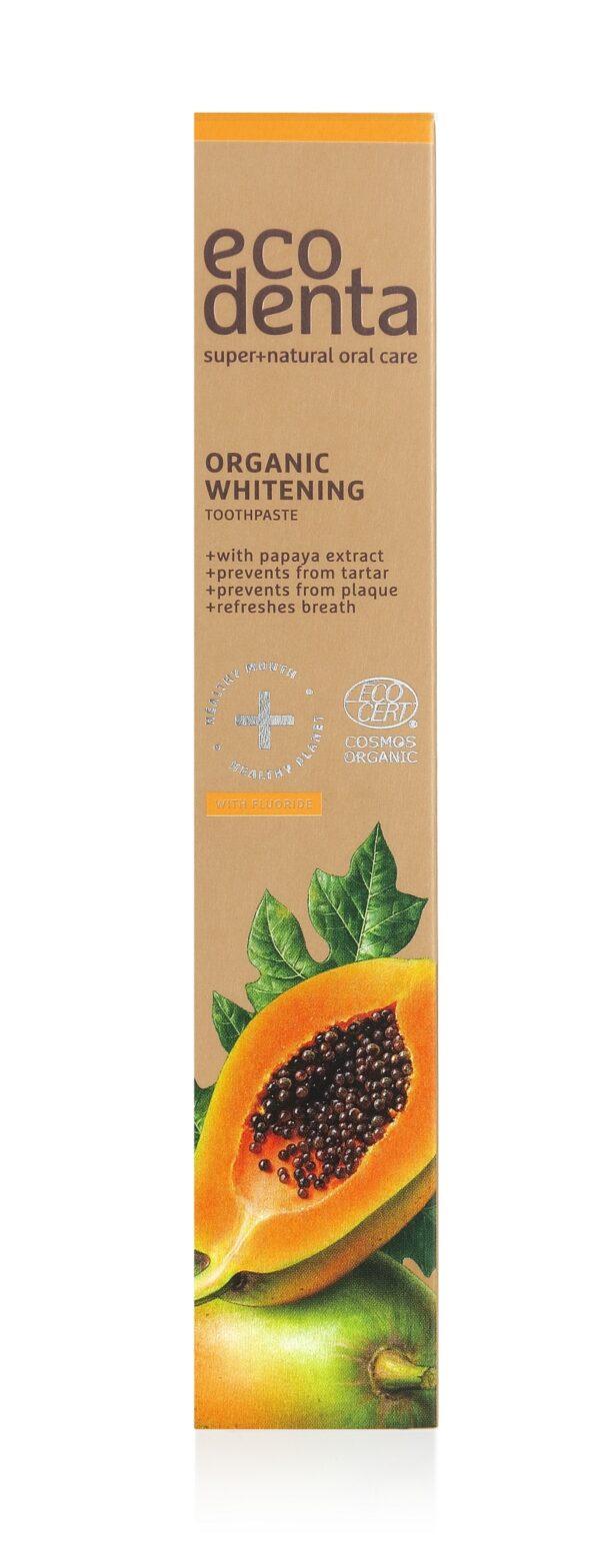Pasta de dinti organica pentru albire cu extract de papaya, Cosmos Organic, Ecodenta, 75 ml