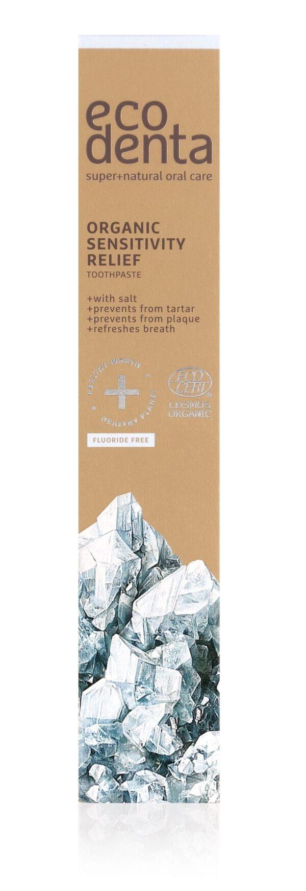 Pasta de dinti organica pentru dinti si gingii sensibile, Cosmos Organic, Ecodenta, 75 ml