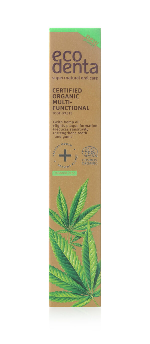 Pasta de dinti organica multifunctionala cu ulei de canepa, Cosmos Organic, Ecodenta, 75 ml