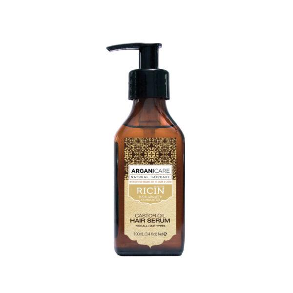 Serum reparator cu ulei de ricin pentru toate tipurile de par, Arganicare, 100 ml