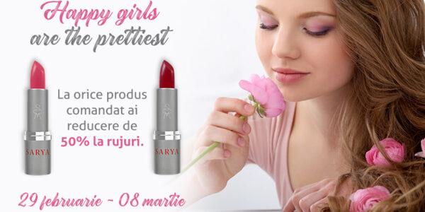 Happy girls are the prettiest – 50% reducere la rujuri