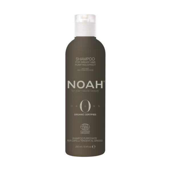 Sampon BIO purifiant cu ulei esentia de menta pentru par si scalp gras, Noah, 250 ml
