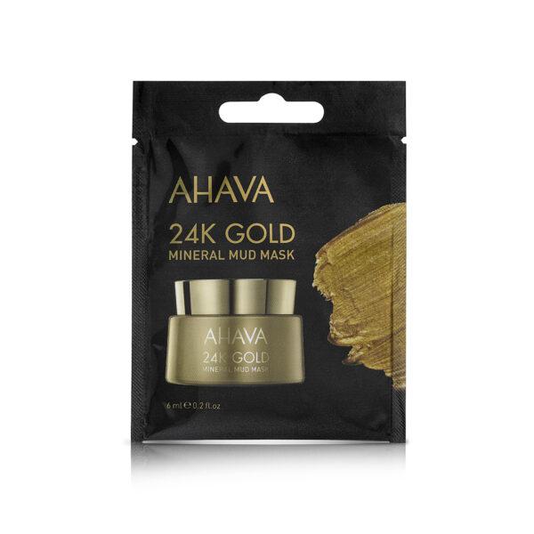 Masca minerala cu namol si aur 24k - pentru o singura folosire, Ahava, 6 ml