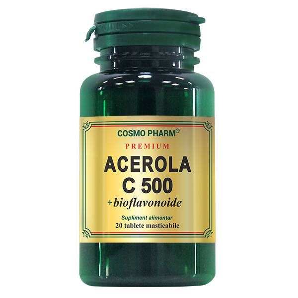 Acerola C 500 mg + bioflavonoide, Cosmo Pharm, 20 tablete masticabile