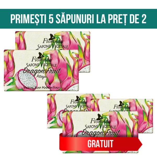 Set 5 sapunuri vegetal cu Fructul Dragonului, Florinda, 100 g La Dispensa