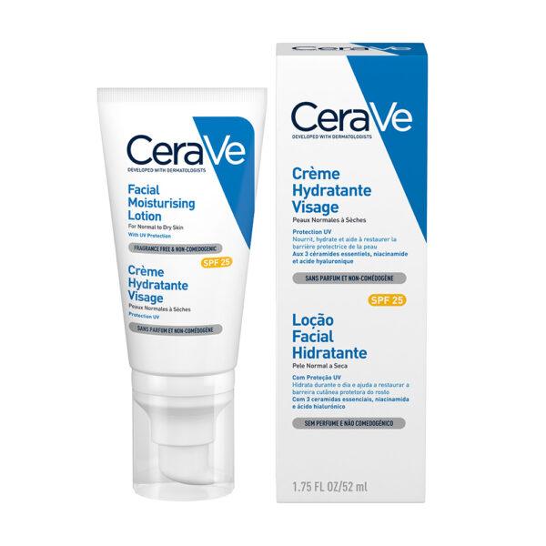 Crema hidratanta de fata cu SPF 25 pentru ten normal-uscat, CeraVe, 52 ml