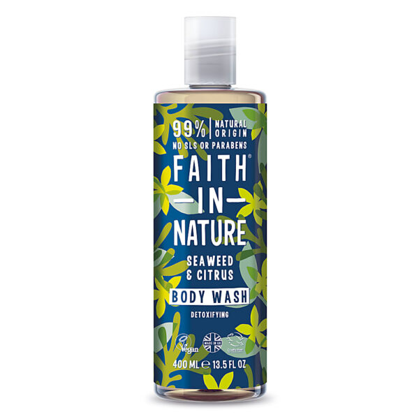 Gel de dus natural, detoxifiant, cu alge marine si citrice, Faith in Nature, 400 ml