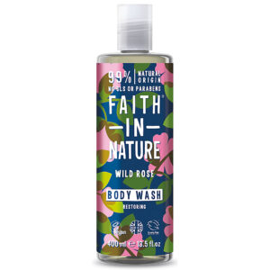 Gel de dus natural, hidratant, cu trandafir salbatic, Faith in Nature,...