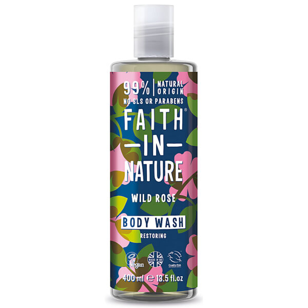 Gel de dus natural, hidratant, cu trandafir salbatic, Faith in Nature, 400 ml