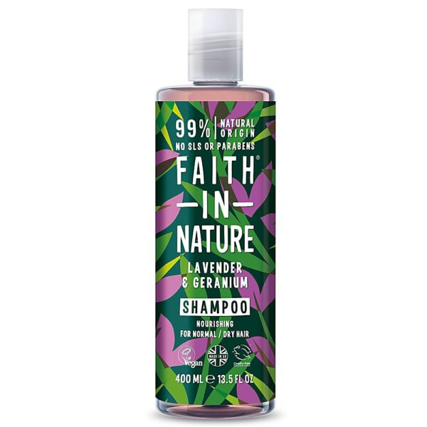 Sampon natural nutritiv cu lavanda si muscata pentru par normal si uscat Faith in Nature, 400 ml