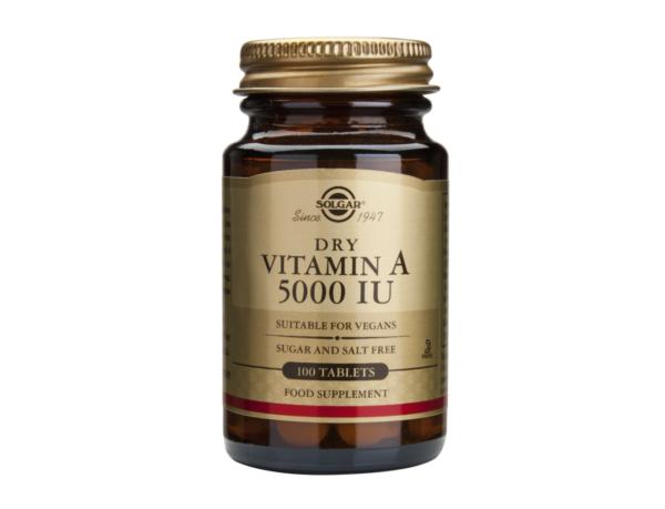 Vitamina A 5000ui, Solgar, 100 tablete