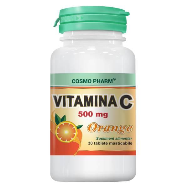Vitamina C Orange 500mg, Cosmo Pharm, 30 tablete masticabile