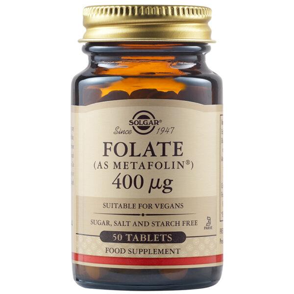 Acid folic Folate 400 ug, Solgar, 50 capsule