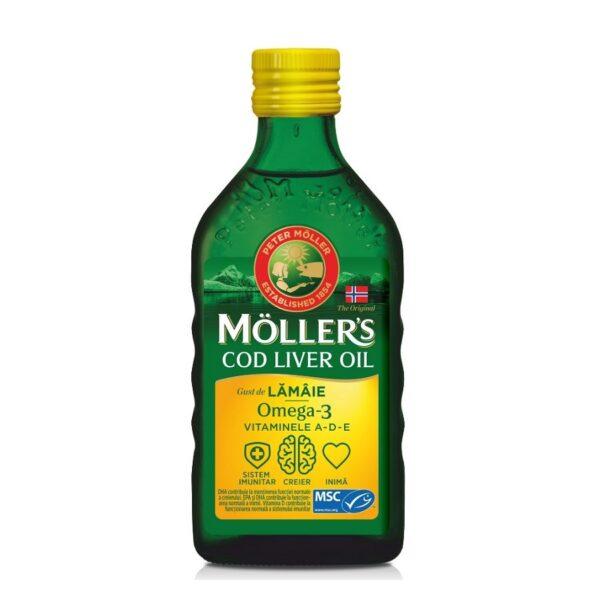 Omega 3 ulei ficat de cod cu aroma de lamaie, Moller's, 250 ml