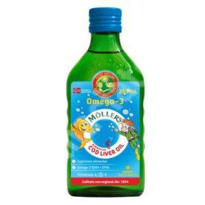 Ulei din ficat de cod Omega 3, aroma de tutti-frutti, Moller's, ...