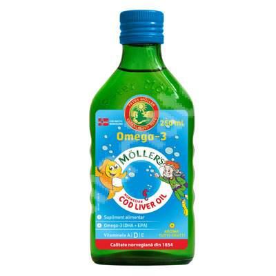 Ulei din ficat de cod Omega 3, aroma de tutti-frutti, Moller's, 250 ml