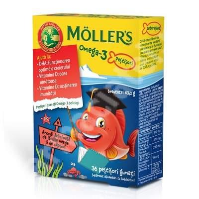 Pestisori gumati cu Omega-3 aroma de lamaie verde si capsuni, Moller's, 36 jeleuri