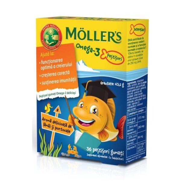 Pestisori gumati cu Omega-3, aroma de lamai si portocale, Moller's, 36 jeleuri