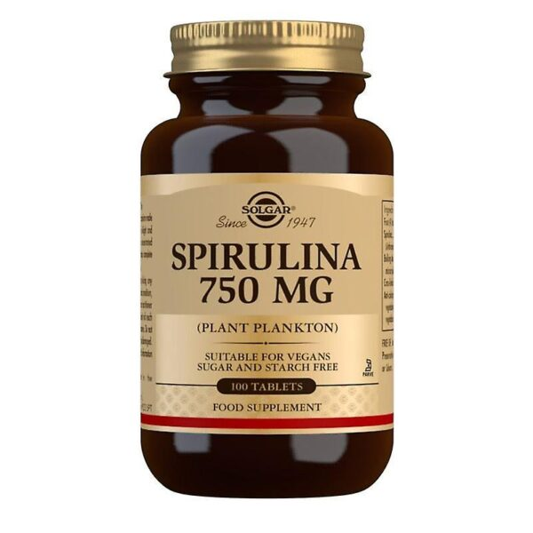 Spirulina 750 mg, Solgar, 100 tablete