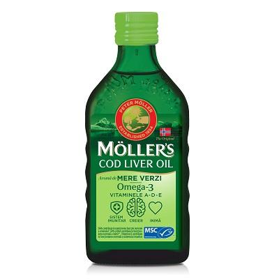 Ulei din ficat de cod Omega 3, Vitamina A-D-E, aroma mere verzi, Moller's, 250 ml