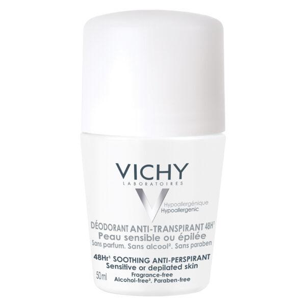 Pachet Deodorant roll-on antiperspirant fara parfum 48h, Vichy, 50 ml + 50 ml