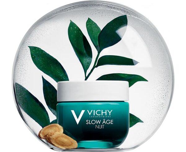 Crema de noapte si masca de fata cu efect racoritor pentru toate tipurile de ten Slow Age, Vichy, 50ml