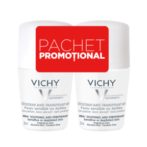 Pachet Deodorant roll-on antiperspirant fara parfum 48h, Vichy, 50 ml ...