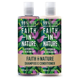 Set Sampon & Balsam cu Lavanda si Muscata, par normal sau uscat, Faith in Nature, 2 x 400 ml
