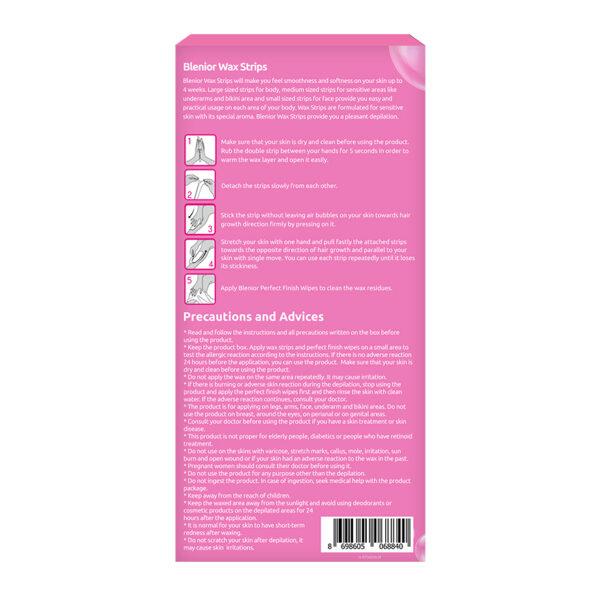 Benzi depilatoare cu ceara rece pentru piele sensibila, Blenior, 41 buc