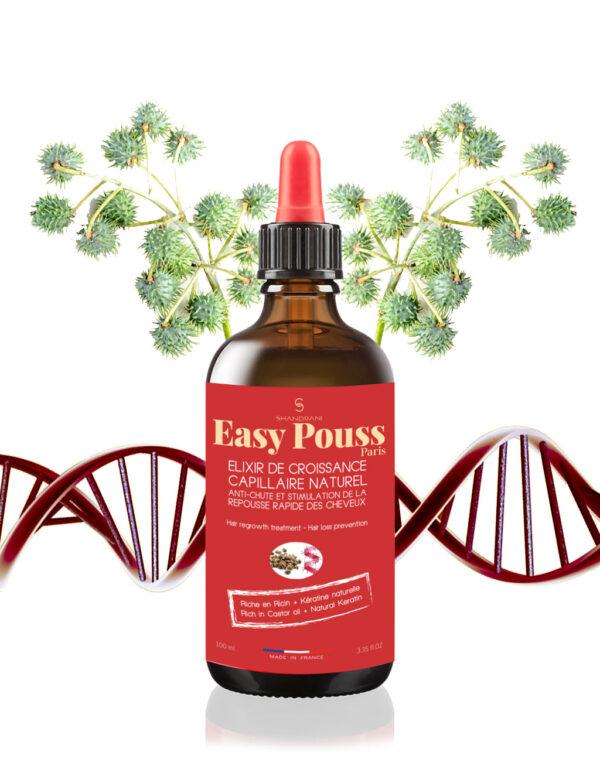 Elixir regenerant impotriva caderii parului, cu ricin si cheratina, par cret, frizzy, Easy Pouss, 100 ml