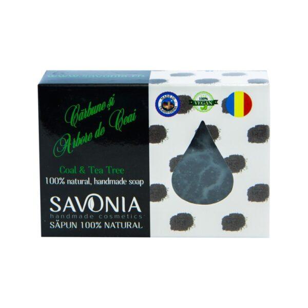 Sapun natural cu Carbune si Arbore de Ceai, Savonia, 90g